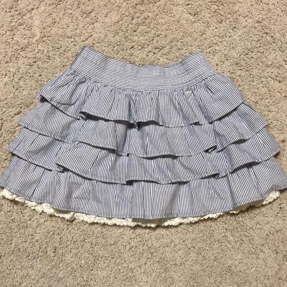 681a910f6 Hollister Dresses & Skirts - Hollister blue &white striped ruffle skirt ...